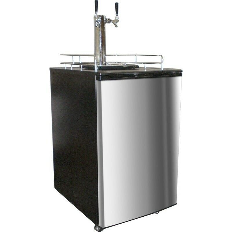 Twin Tap Beer Fridge Kegerator Draft Dispensing Cooler