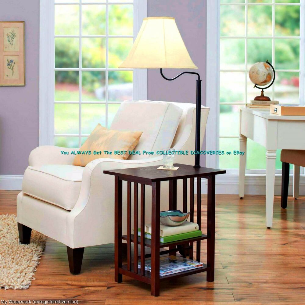 54 rich dark wood end table built in 3 way floor lamp w white sha. Black Bedroom Furniture Sets. Home Design Ideas