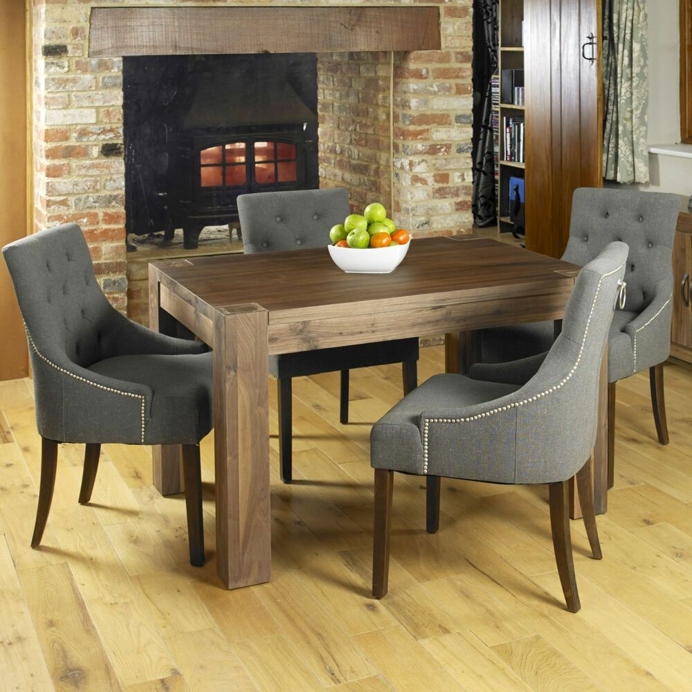 sierra solid walnut dark wood modern furniture dining table and four