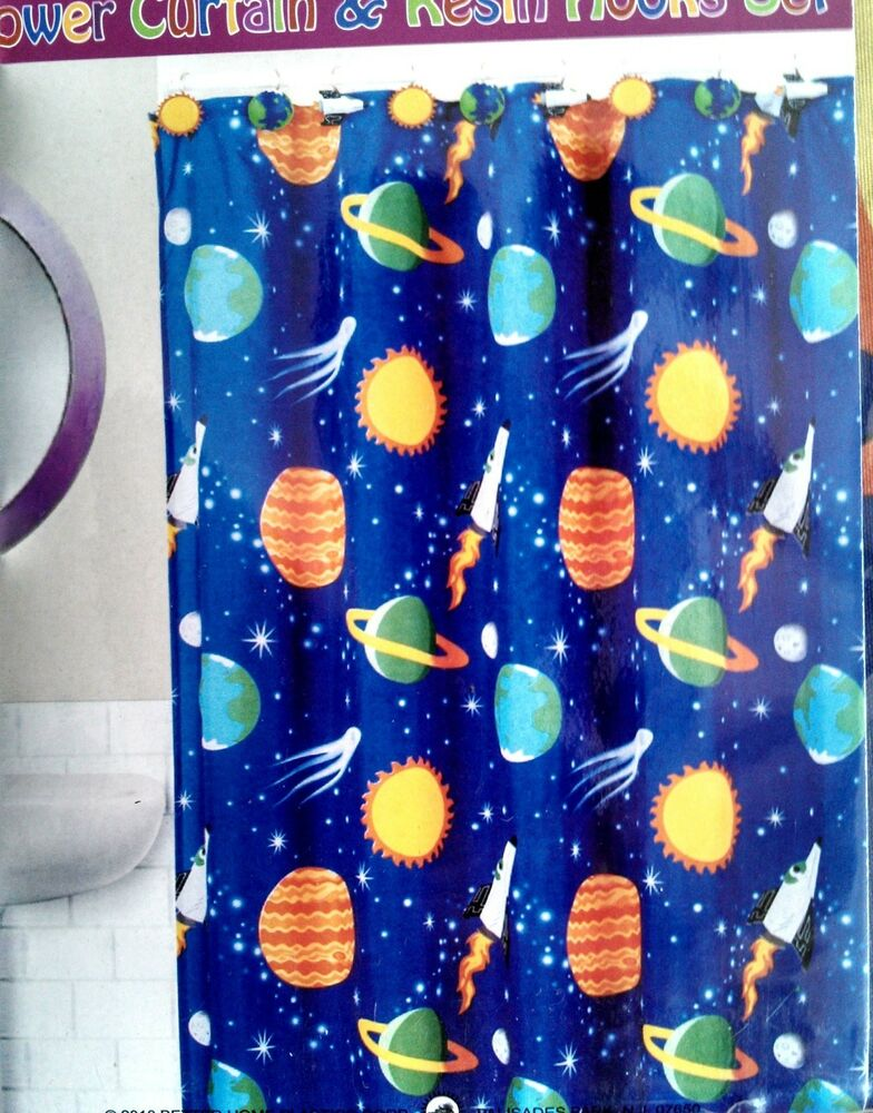 Outer space ship hooks shower curtain bathroom set for Space curtain fabric