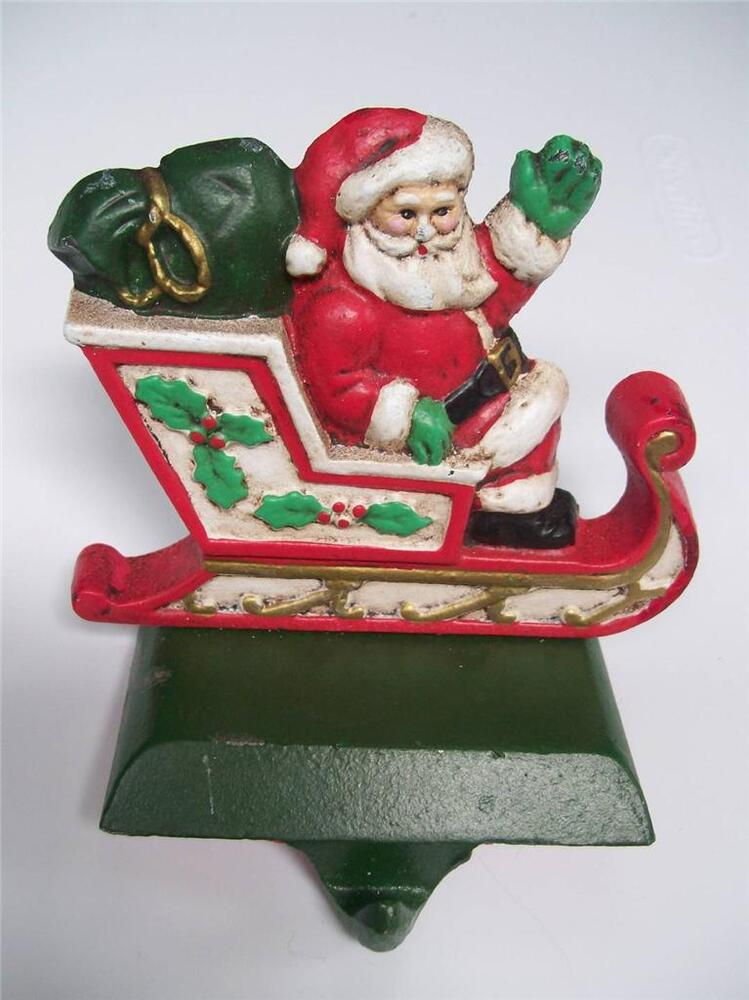 Midwest santa in sleigh painted cast iron christmas