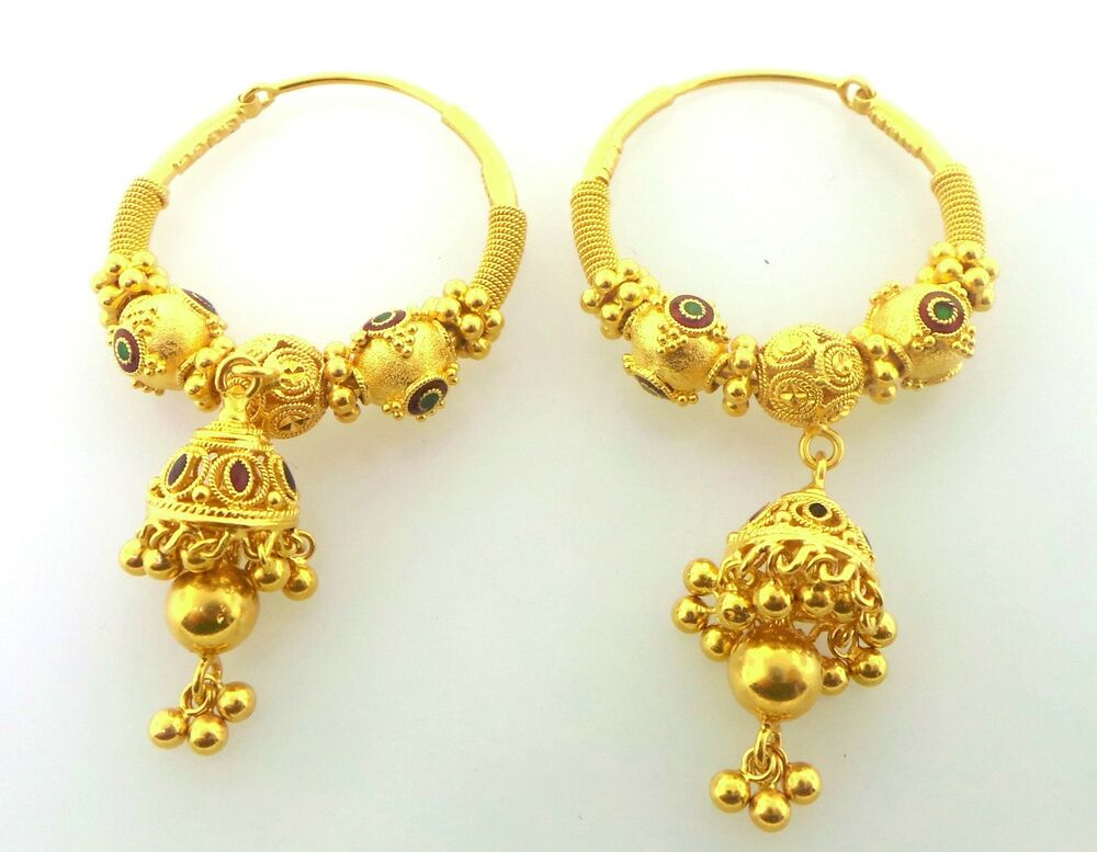 22k gold earrings india gorgeous authentic indian 22k solid yellow gold dangle 6054