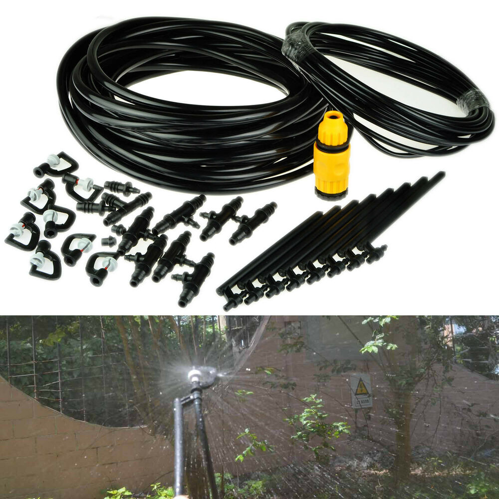 20m diy micro drip irrigation mist system plant self watering garden hose kits ebay - Diy drip irrigation systems ...