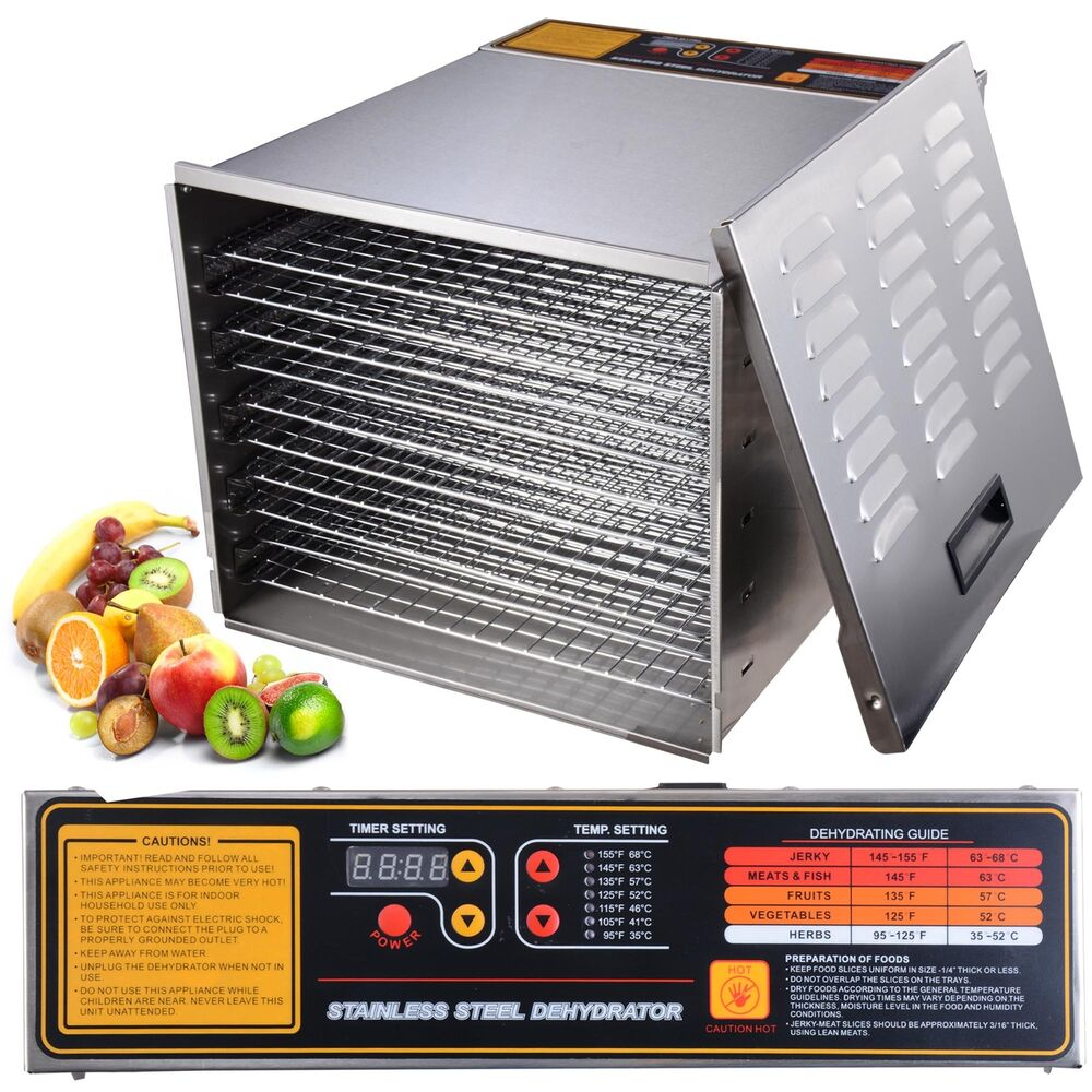 Commercial 10 Tray Stainless Steel Food Dehydrator 55l Fruit Meat