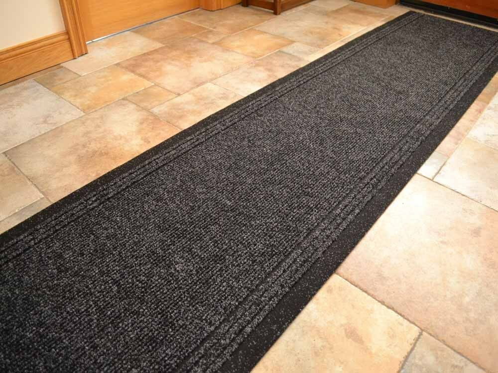 Black Heavy Duty Non Slip Rubber Backed Hall Runners Extra