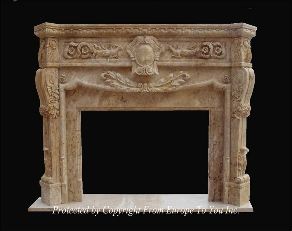 BEAUTIFUL HAND CARVED MARBLE FIREPLACE MANTEL MNTL977
