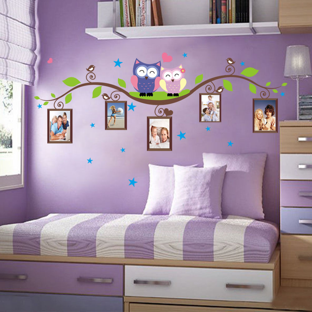 Owls Green Branch Photo Frames Removable Wall Sticker Kids