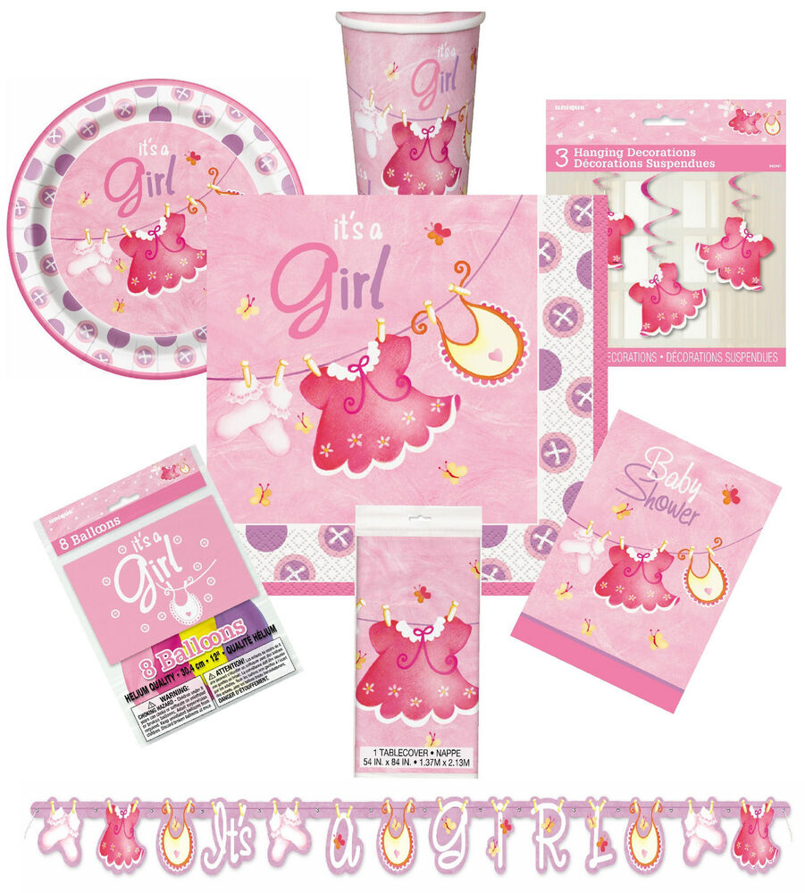 Pink clothesline girl baby shower decorations tableware for Baby clothesline decoration
