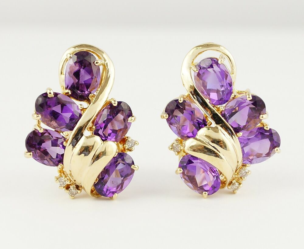 14k yellow gold diamond and amethyst ladies earring ebay. Black Bedroom Furniture Sets. Home Design Ideas