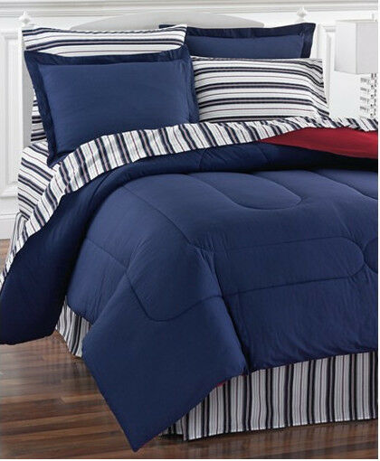 Nautical Bedding King: Red & Blue Nautical Stripe Reversible Twin Comforter Set