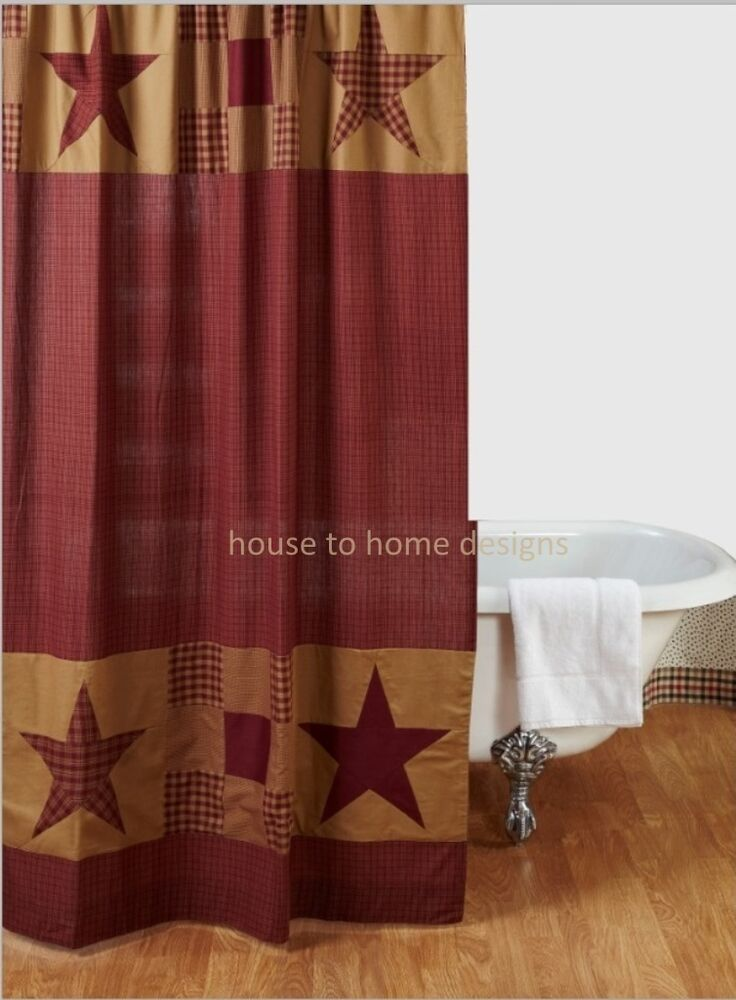 NINEPATCH STAR SHOWER CURTAIN RED PLAID CABIN RUSTIC TAN