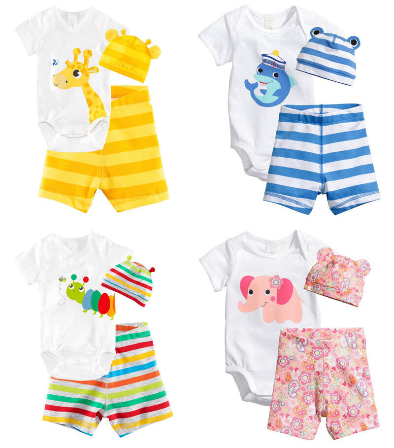 3pcs Boy Girl Baby Newborn Unisex Cap Hat+Romper+Shorts Bodysuit Clothing Set | eBay