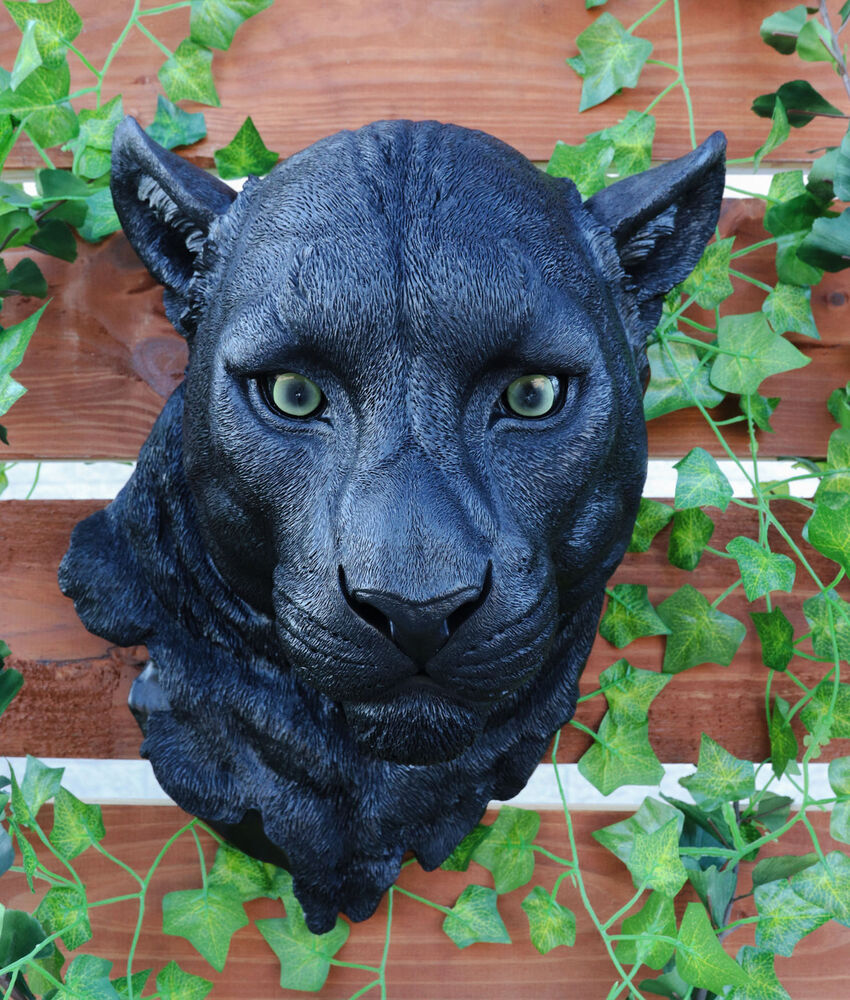 Black Ghost Panther Large Cat Predator Hanging Wall Bust