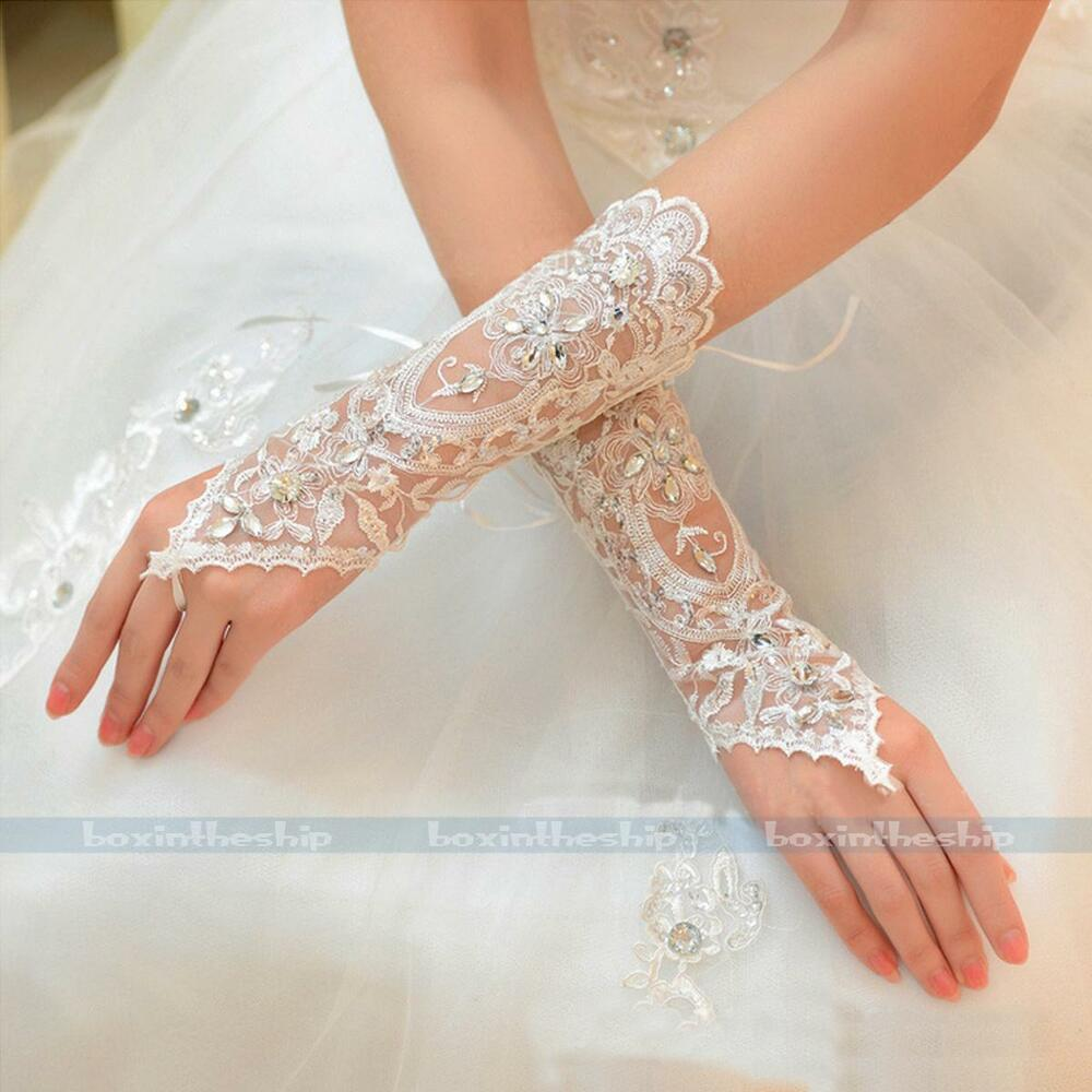 New Crystal Lace Bridal Glove Wedding Prom Partu Costume