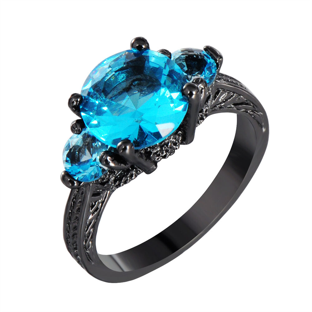 blue round aquamarine gem engagement ring 10kt black gold. Black Bedroom Furniture Sets. Home Design Ideas