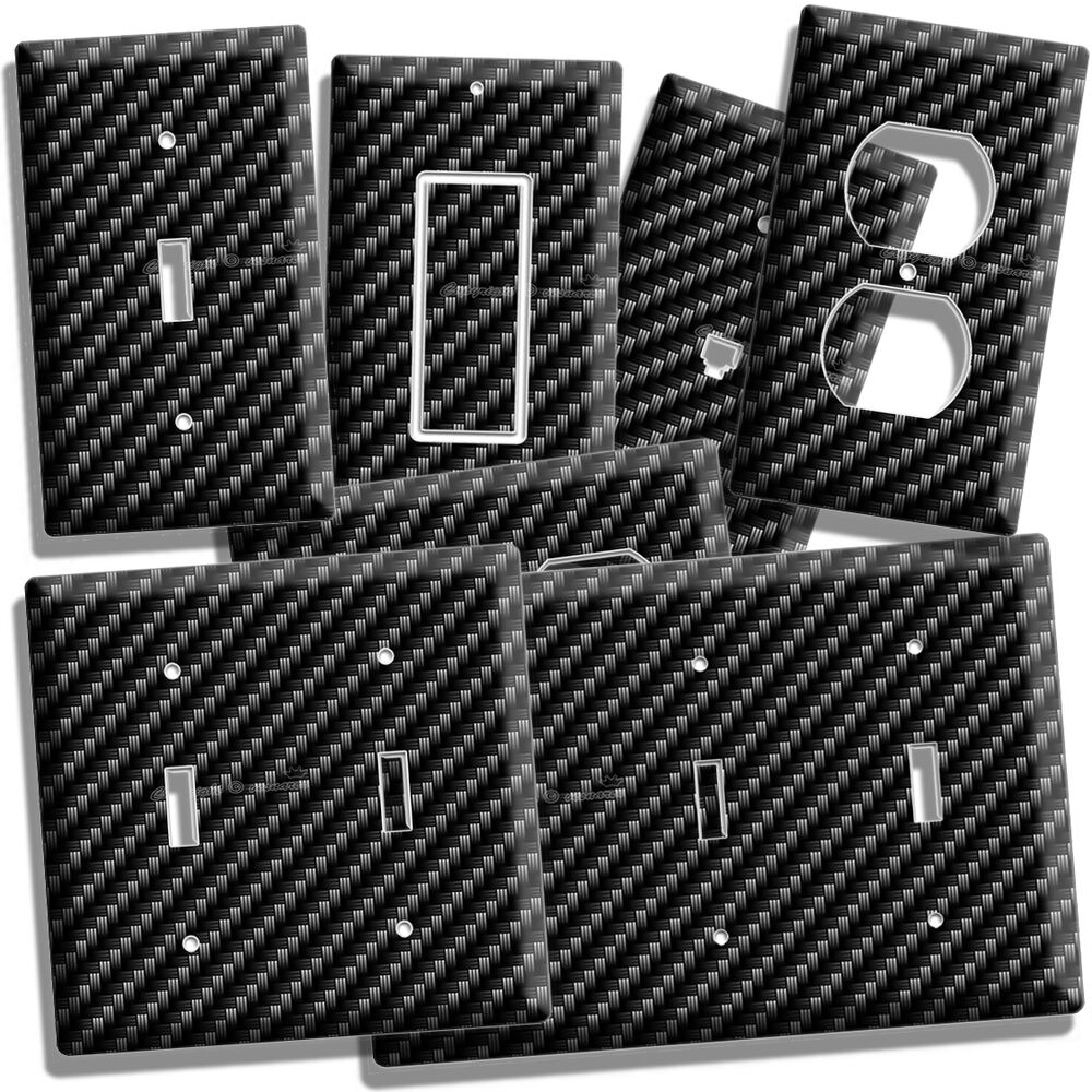 Man Cave Outlet Store : Carbon fiber style light switch outlet cover wall plate