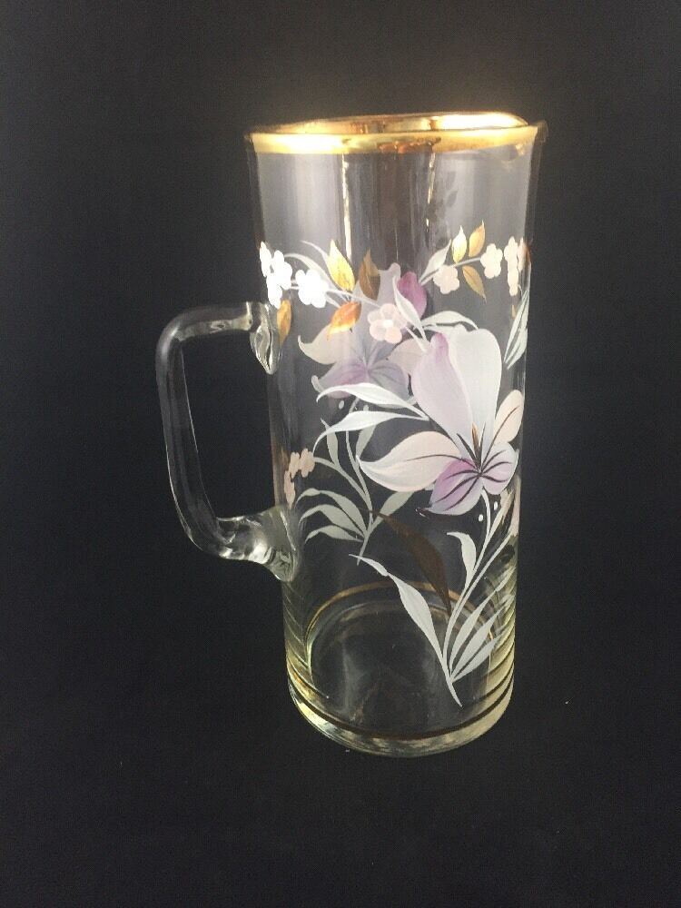 Vintage Large Glass Pitcher Floral Flower Paint Gold Trim Ebay