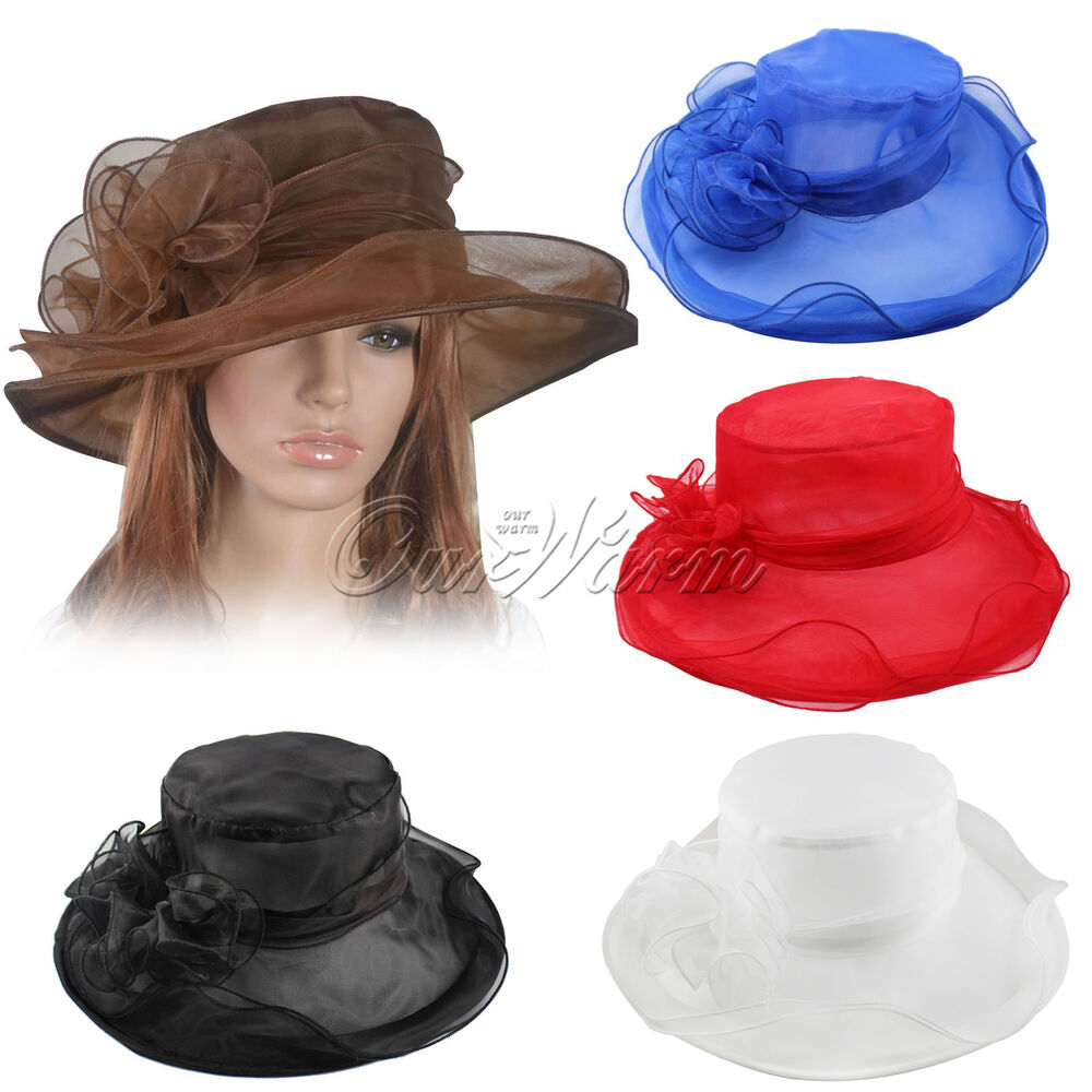 Women dress church wedding kentucky derby sheer wide brim for Dress hats for weddings