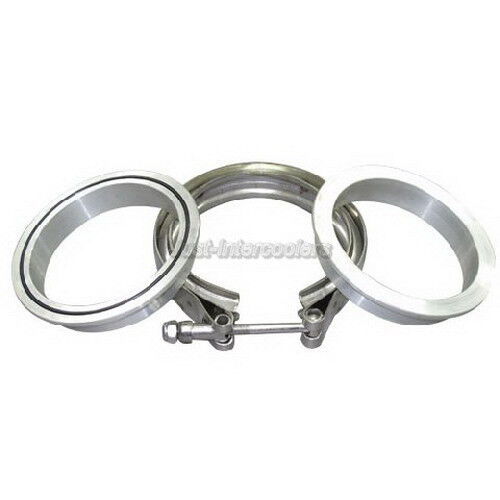 """Turbo Exhaust Ring: 3.5"""" V-Band Vband Clamp Aluminum Flanges W/ O-ring Kit For"""