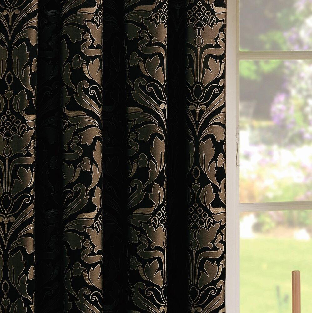 Black Gold Pencil Pleat Lined Ready Made Curtains Jacquard