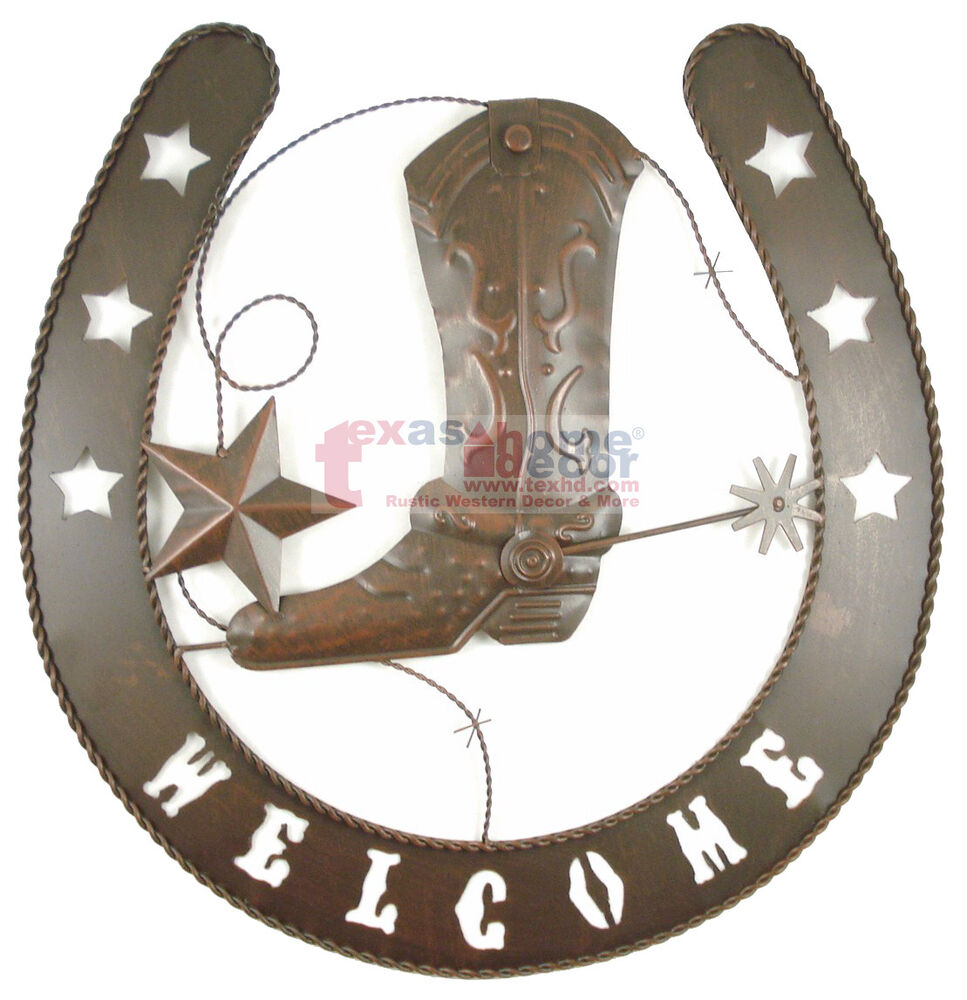 Lucky Horseshoe Western Wall Decor Boot Welcome Plaque ...