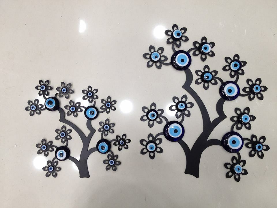 Evil Eye Flowers& Tree Wall Wrought Iron Mural Home Decor