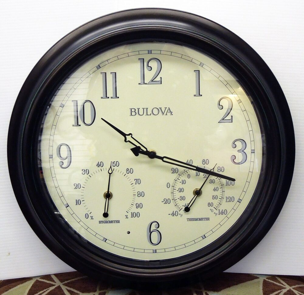 Bulova Indoor Outdoor Aged Bronze Finish Wall Clock