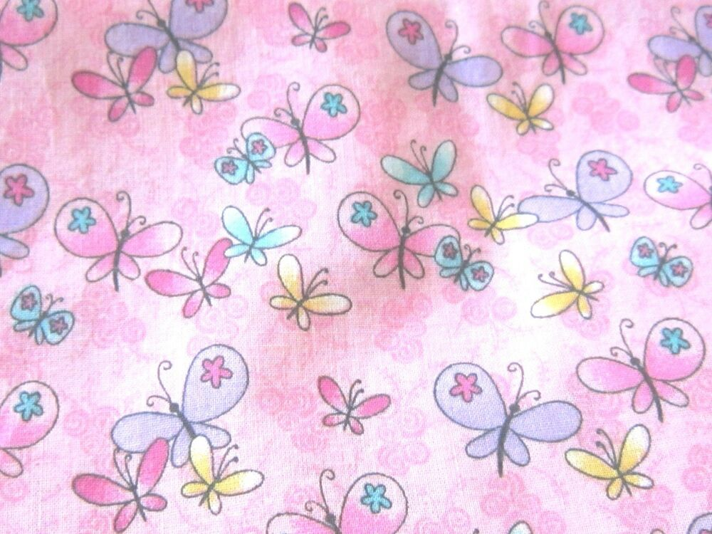 Pink background butteflies buttefly dainty kids novelty for Kids novelty fabric