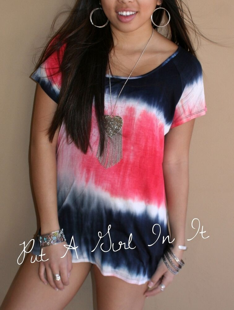 Plus size red white blue tie dye dyed a line tunic shirt for How to dye a shirt red