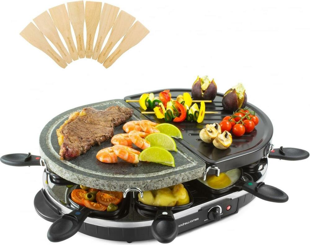 andrew james raclette grill half stone half traditional indoor bbq hotplate ebay. Black Bedroom Furniture Sets. Home Design Ideas