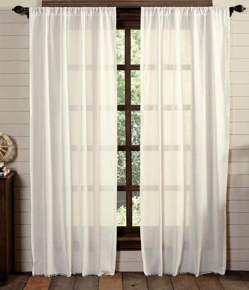 Tobacco Cloth Antique White Window Panels Set Rustic