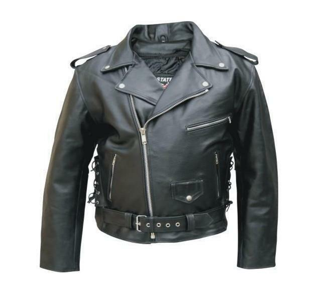 Mens Black Leather Motorcycle Jacket Side Lace Zip Out