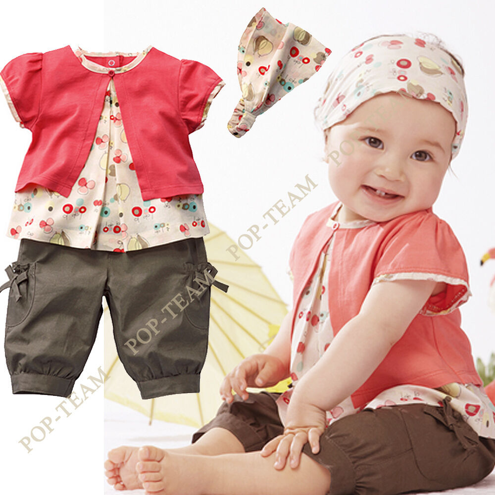 3pcs Toddler Newborn Baby Girls Clothes Headbands Tops Pants 1st birthday outfit | eBay