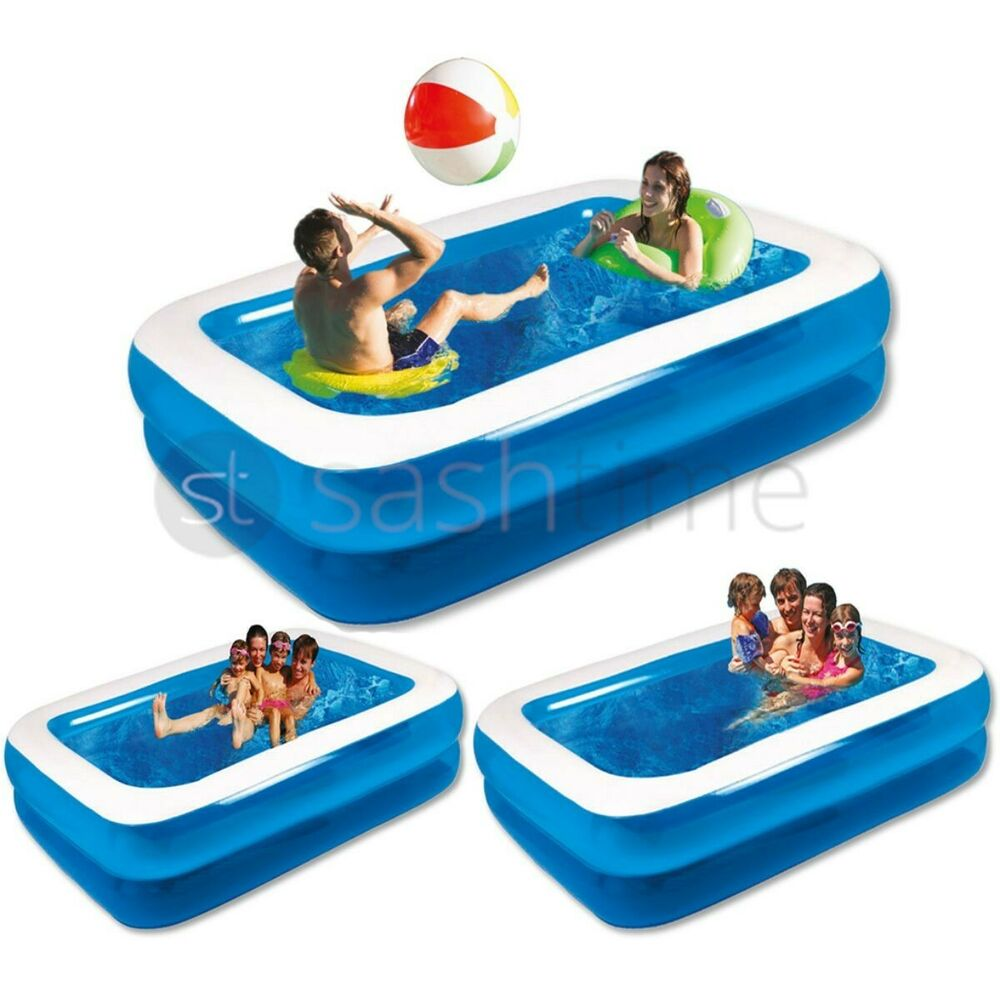 New Large Jumbo Deluxe Rectangular Inflatable Family Swimming Paddling Pool Fun Ebay