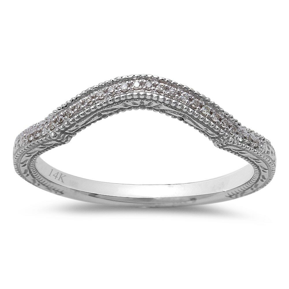 diamond diamond curved wedding anniversary band 14kt white gold ebay