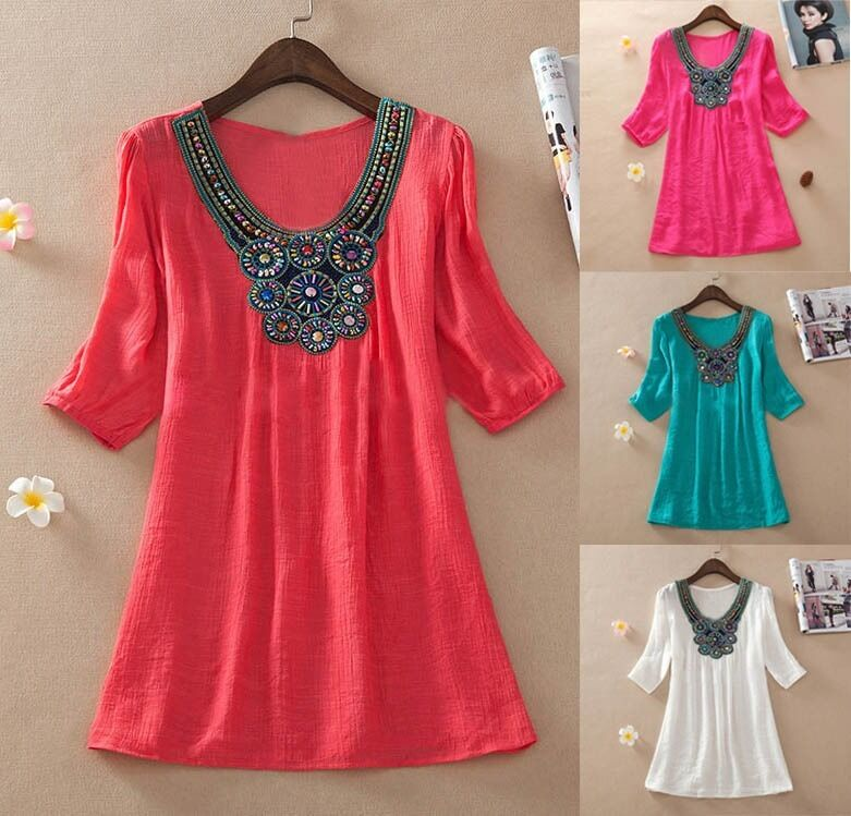 Women Embroidered Mexican Peasant Beading Loose Tunic