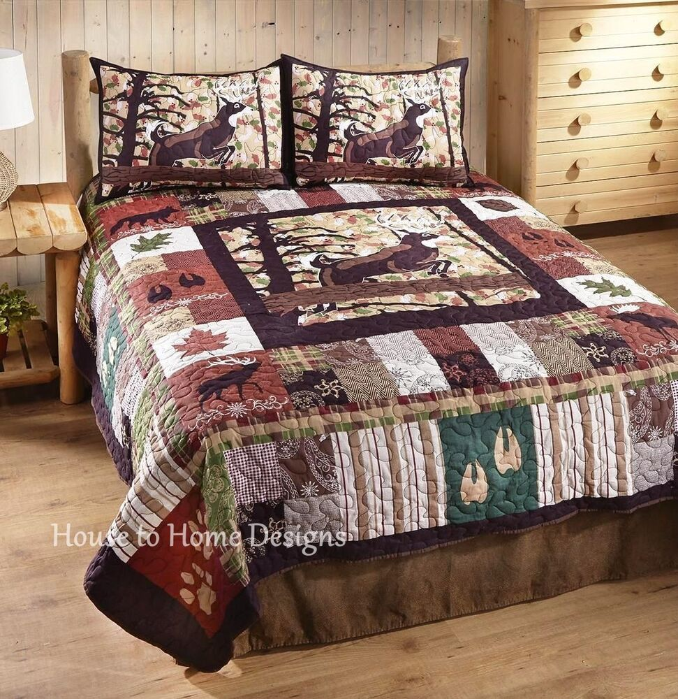 WHITETAIL LODGE Full Queen QUILT SET : CABIN BEAR MOOSE DEER HUNT BUCK COMFORTER | eBay