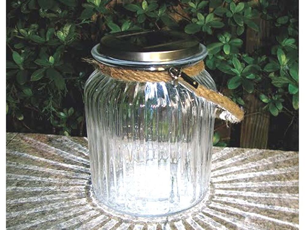 NEW SOLAR LED GLASS HANGING GARDEN ROPE JAR OUTDOOR TABLE