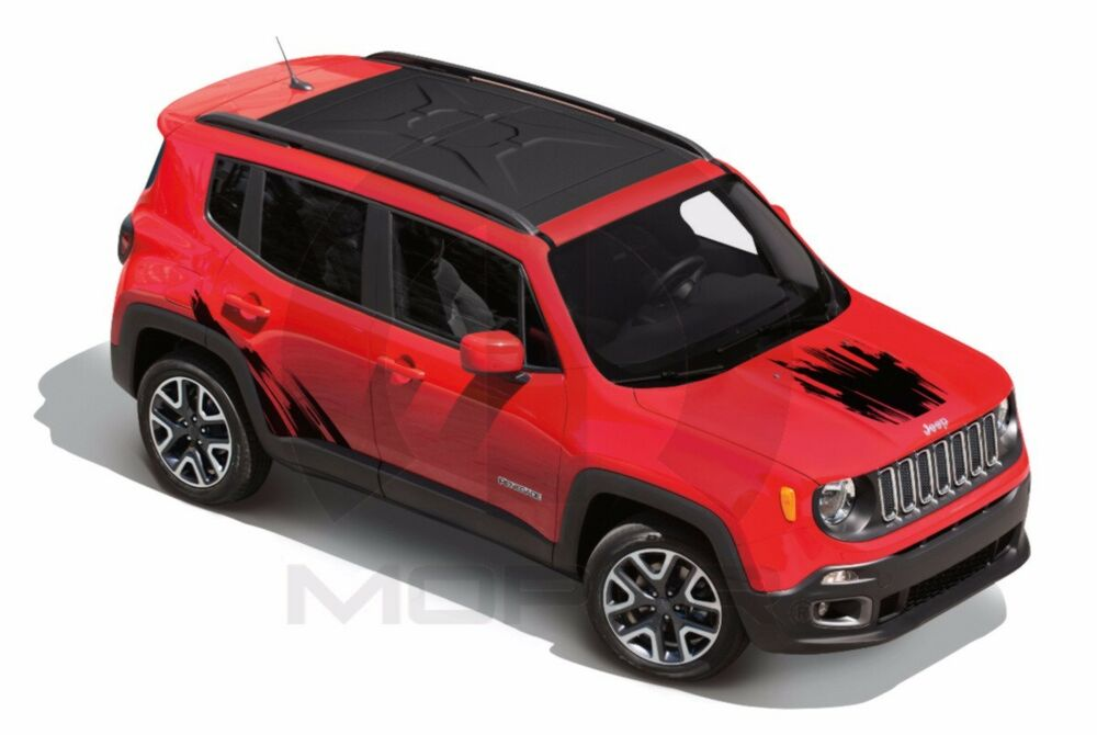 Jeep Renegade Stickers >> 2015 Jeep Renegade New Hood & Bodyside Decal Kit Black Brushed Mopar Factory Oem | eBay