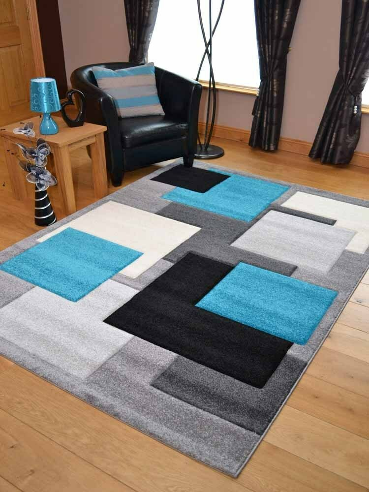 Modern Thick Soft Quality Turquoise Blue Black Floor Mat