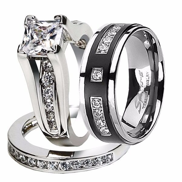 His hers 3 pc nice cz stainless steel black titanium for 3pc wedding ring set