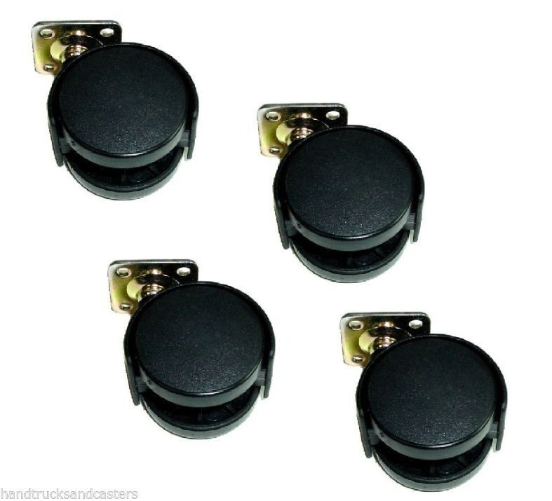 Set of 4 swivel 2 twin wheel nylon furniture plate for 2 furniture casters