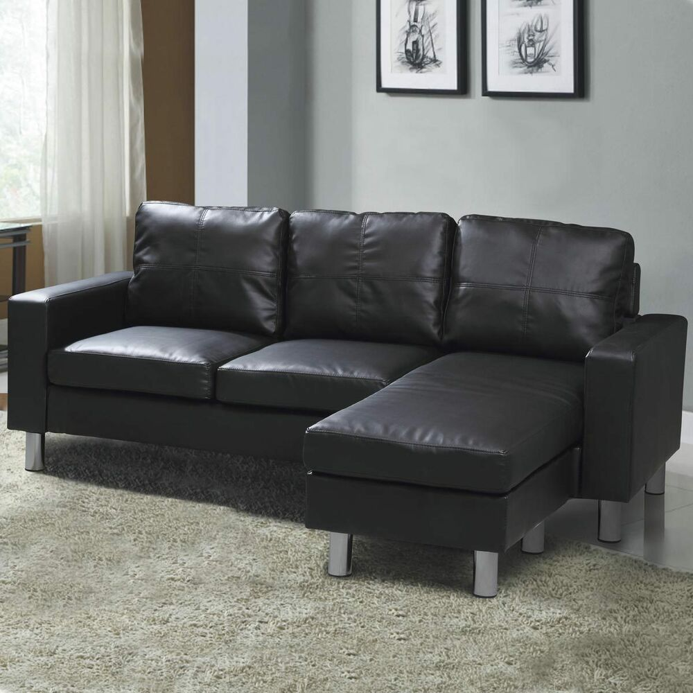 L shaped corner chaise sofa black pu leather grey fabric for Black fabric sectional sofa with chaise