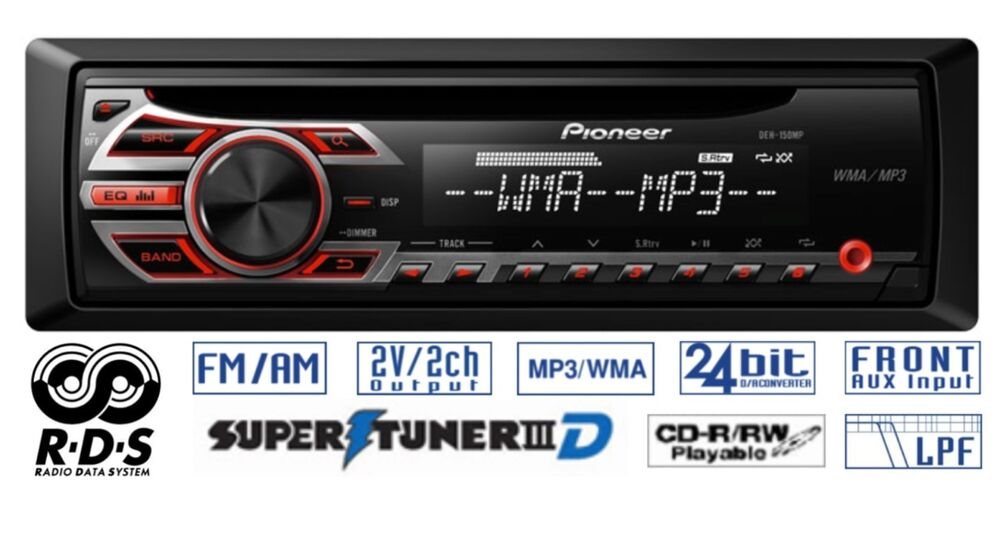 pioneer car radio stereo cd player aux supertuneriii rds mp3 deh 150mp ebay
