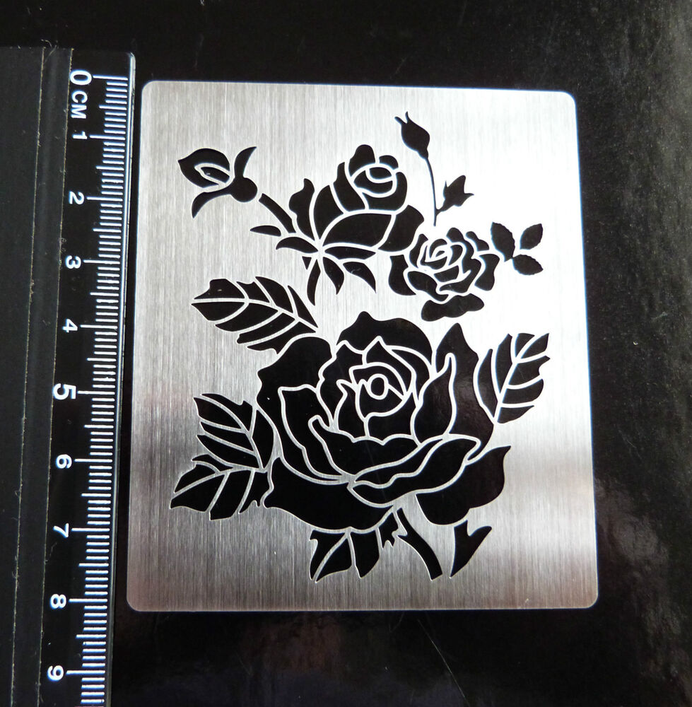 stainless  steel  metal  stencil  oblong  ornate  rose  floral