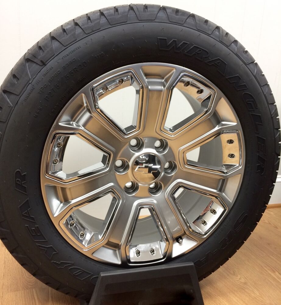 new chevy silverado suburban tahoe avalanche silver chrome 20 wheels rims tires ebay. Black Bedroom Furniture Sets. Home Design Ideas