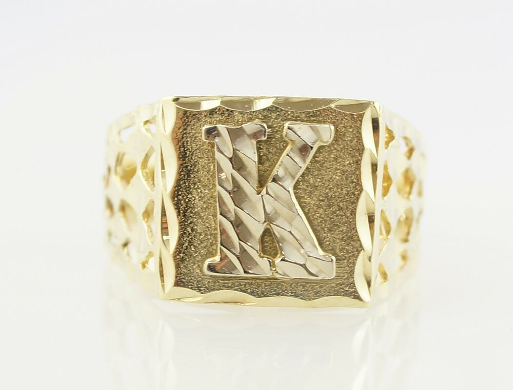 10k yellow gold diamond cut letter k initial ring ebay for Gold ring models with letters