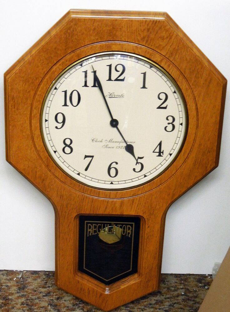 Hermle School House Wall Clock Oak Finish With Dual