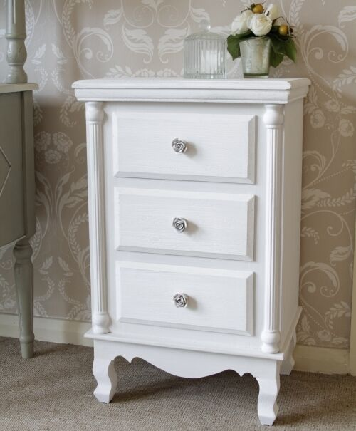 white rose flower 3 drawer chest of drawers bedside table cabinet
