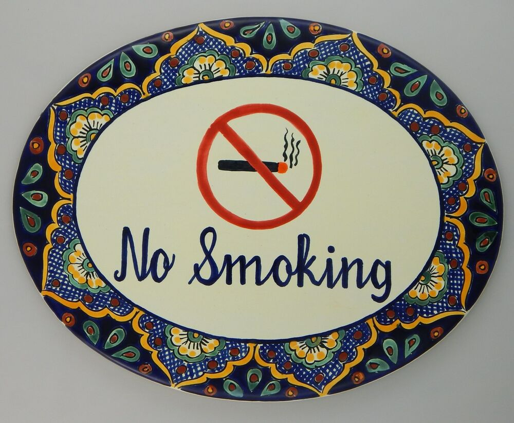 no smoking mexican plaque tile custom address sign 16x12. Black Bedroom Furniture Sets. Home Design Ideas